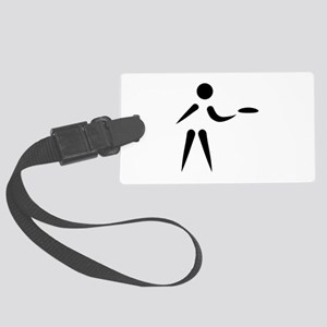 Disc golf player Large Luggage Tag