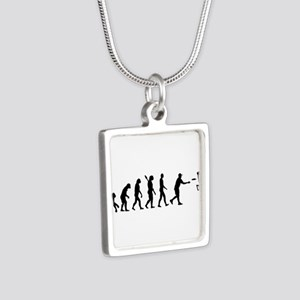 Evolution Disc golf Silver Square Necklace