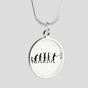 Evolution Disc golf Silver Round Necklace