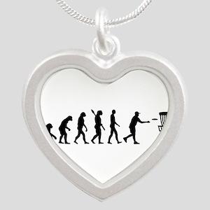Evolution Disc golf Silver Heart Necklace