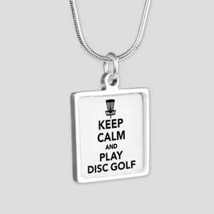 Keep calm and play Disc go Silver Square Necklace