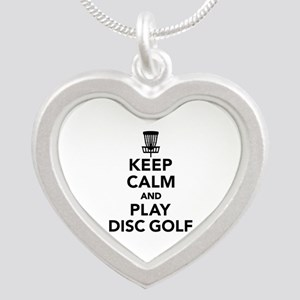 Keep calm and play Disc golf Silver Heart Necklace