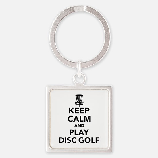 Keep calm and play Disc golf Square Keychain