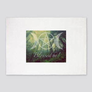 Pentacle Forest Blessed Be 5'x7'Area Rug
