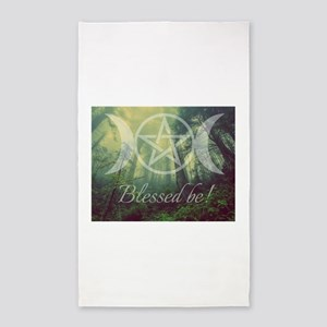 Pentacle Forest Blessed Be Area Rug