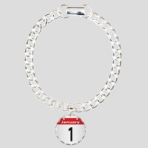 Date January 1st Charm Bracelet, One Charm