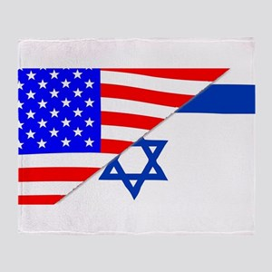 USA and Jewish Flags Throw Blanket