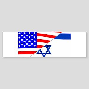 USA and Jewish Flags Bumper Sticker