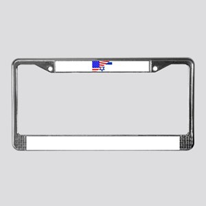 USA and Jewish Flags License Plate Frame