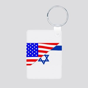USA and Jewish Flags Keychains