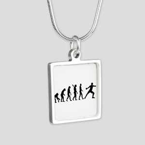 Evolution Discus throw Silver Square Necklace
