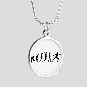 Evolution Discus throw Silver Round Necklace