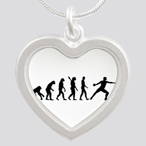 Evolution Discus throw Silver Heart Necklace