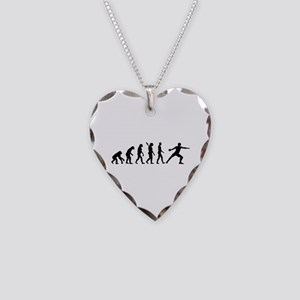 Evolution Discus throw Necklace Heart Charm