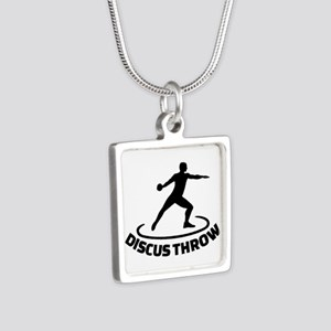 Discus throw Silver Square Necklace