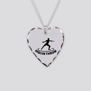 Discus throw Necklace Heart Charm