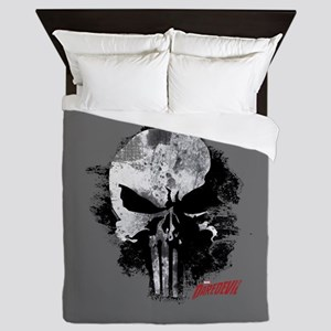 Punisher Skull Black Smudge Queen Duvet