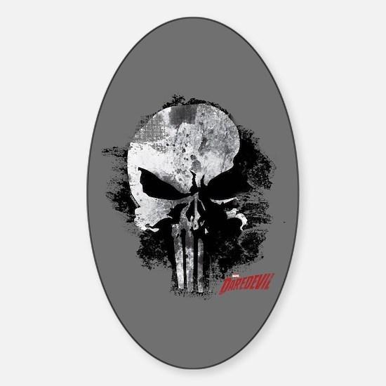 Punisher Skull Black Smudge Sticker (Oval)