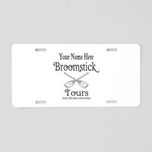 broomstick tours Aluminum License Plate