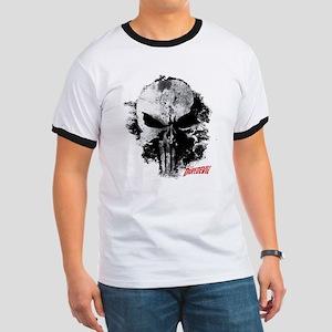 Punisher Skull Black Smudge Ringer T