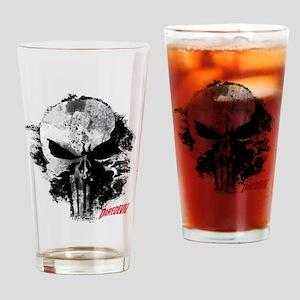 Punisher Skull Black Smudge Drinking Glass