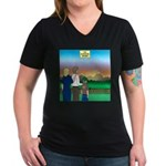 The Adventure Begins Women's V-Neck Dark T-Shirt