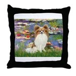 Lilies & fawn Papillon Throw Pillow