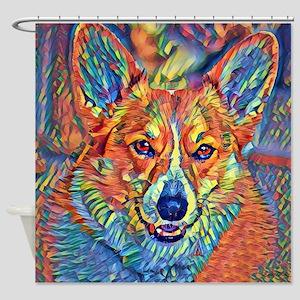 Colorful Corgi Shower Curtain