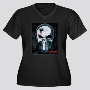 Punisher Sku Women's Plus Size V-Neck Dark T-Shirt