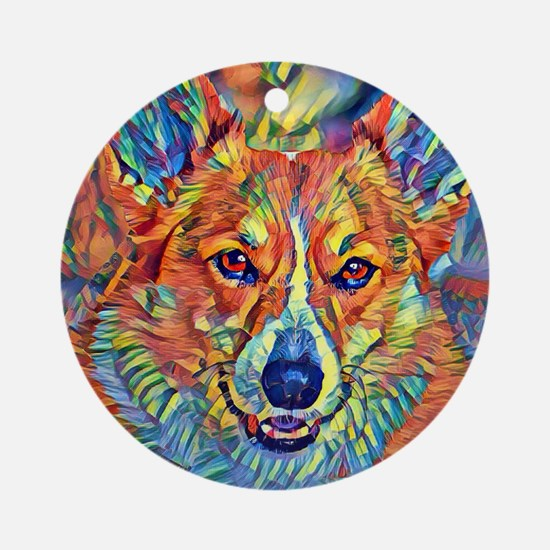 Colorful Corgi Round Ornament