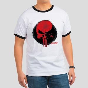 Punisher Skull Red Ringer T