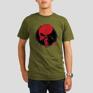 Punisher Skull Red Organic Men's T-Shirt (dark)
