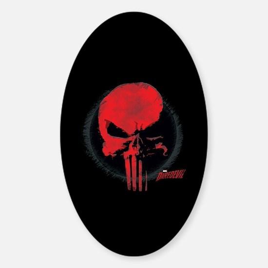 Punisher Skull Red Sticker (Oval)