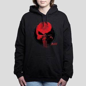 Punisher Skull Red Women's Hooded Sweatshirt