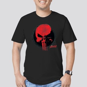 Punisher Skull Red Men's Fitted T-Shirt (dark)