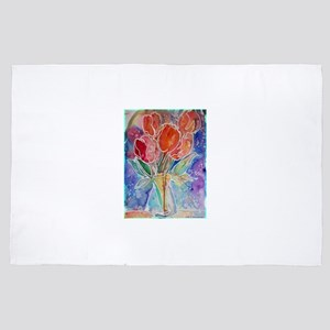 Tulips! Colorful, floral art! 4' x 6' Rug