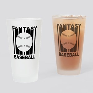 Retro Fantasy Baseball Drinking Glass