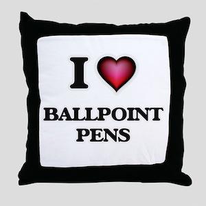 I Love Ballpoint Pens Throw Pillow