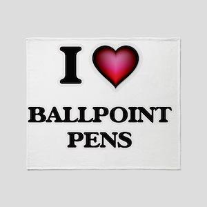 I Love Ballpoint Pens Throw Blanket