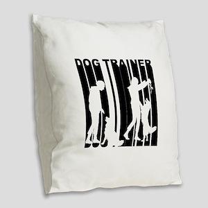 Retro Dog Trainer Burlap Throw Pillow