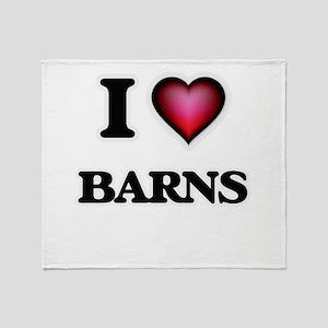 I Love Barns Throw Blanket