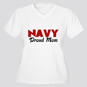Navy Mom (red) Women's Plus Size V-Neck T-Shirt