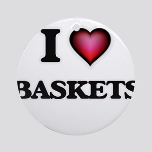 I Love Baskets Round Ornament