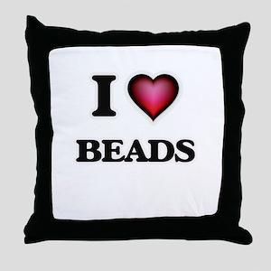 I Love Beads Throw Pillow
