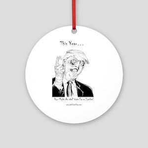 Zombie Trump Round Ornament