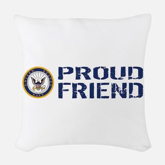 U.S. Navy: Proud Friend (Blue Woven Throw Pillow