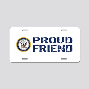 U.S. Navy: Proud Friend (Bl Aluminum License Plate