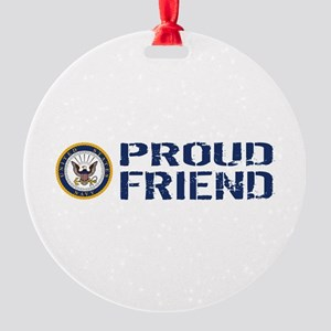 U.S. Navy: Proud Friend (Blue & Whi Round Ornament