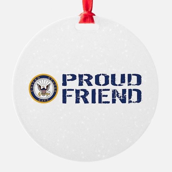 U.S. Navy: Proud Friend (Blue & Whi Ornament