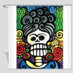Catrina Day of the Dead Sugar Skull Shower Curtain